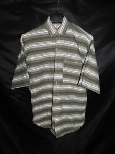 Vintage 90s Code Zero M Olive Green White Stripe Shirt Short Sleeve Cotton USA
