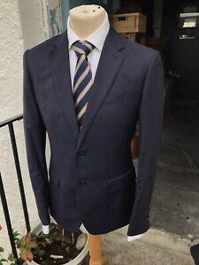 Mens REISS Navy Wool 2 Button Suit Jacket Blazer Size 38R