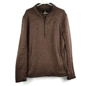Browning Brown 1/4 Zip Long Sleeve Sweater Men's Size Large Pockets