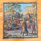 """Antique Italy Victorian Market Scene Wall Table Tapestry 19""""x18"""""""