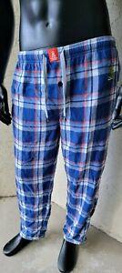 Psycho Bunny Men's Flannel Plaid Pajama Pants Elastic Waist Sz Medium