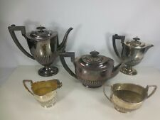 Vintage Sheffield Silverplate Teapot Coffee Pot Hot Chocolate 5 Piece Set