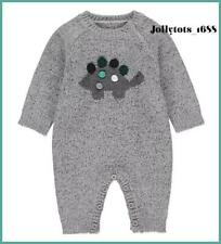 Baby Boys Grey Romper Outfit 12-18 Months Grey Marl Knitted Dinosaur All In One