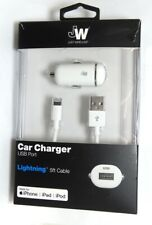 Just Wireless Car Charger with lightning cable for iphone xr/x/8/7/6/5 - White