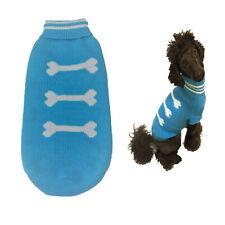 Dog Sweater Blue Bones  XXS XS S M L - Warm Puppy Clothes Jumper Chihuahua
