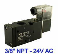 Pneumatic 3 Way Electric Directional Control Air Solenoid Valve 24V AC 3/8 Inch