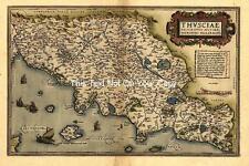 Ortelius Italia Centrale VECCHIA TOSCANA Italiano Italiana mappa carta geografica antica