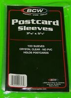 100 U.S. POSTCARD POLY SLEEVES, CRYSTAL CLEAR - BCW BRAND - ARCHIVAL SAFE