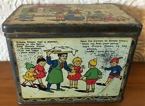 Vintage Collectable Nursery Rhyme Tin 3 different Rhymes.