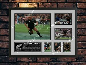 JONAH LOMU SIGNED ALL BLACKS RUGBY LIMITED EDITION MEMORABILIA  A4 PHOTO PRINT