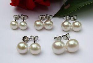 6 7 8 9 10 mm Süßwasser Perlen Schmuck Set Ohrringe Ohrstecker 925 Silber 5 Paar
