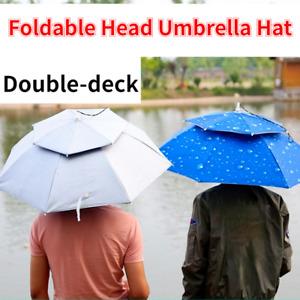 Unisexe Pliable Double Fond Tête Chapeau Parapluie Pluie Casquette Teinté Soleil
