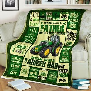Farmer Dad Blanket, Eat Sleep Farm, Gifts for Father's Day Fleece, Quilt Blanket