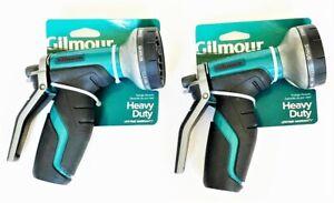 2 Gilmour Heavy Duty Rear Trigger Garden Hose Spray Nozzle 8 Pattern 841052-1001