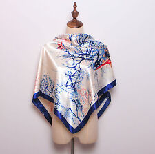 "Women's Blue New Fasion Printed Silk-Stain Square Scarf Shawl 35""*35"""