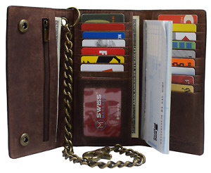 Brown Vintage Leather RFID Blocking Men's Biker Long Trifold Chain Wallet