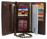 Brown Vintage Leather RFID Blocking Men's Biker Long Trifold Chain Wallet