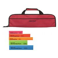 5 Pocket Chef Knife case roll bag Red w/ 5pc Colored knife edge guards Ergo Chef