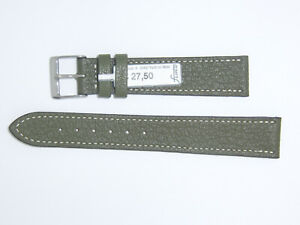 "FLUCO Genuine Vintage Leather Watch Band Strap 19 mm Green ""Montana-Ziege"""
