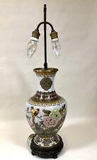 "Large Vintage Cloisonne Lamp Birds Flowers Butterfly 29"""