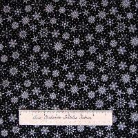 Christmas Fabric - Crystal Palace Gray Snowflakes on Black - StudioE YARD