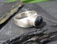 Schöner 925 Silber Ring Schwarzer Stein Onyx Cabochon Oval Breit Massiv Modern