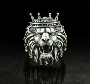 Lion King Crown head Men's Ring 925 Sterling Silver biker rider animal ring Gift