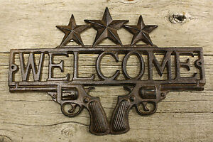 Cast Iron PISTOL WELCOME Plaque Sign Rustic Ranch Western Style Man Cave Cowboy