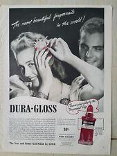 1940 Dura Gloss zombie red color fingernail polish pretty blonde ad