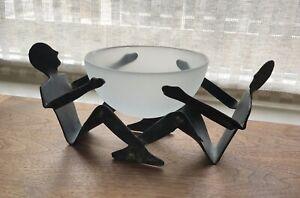 Modernist Abstract Metal Steel Sculpture Male Figures 2 Men Glass Bowl Serving