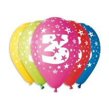 Balloons with 3rd Birthday print Pack of 10, Assorted colours PREMIUM QUALITY
