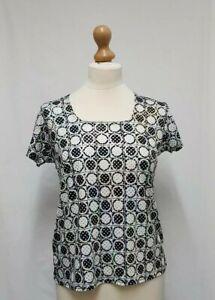 Womens SKY Sequin Top Size M, UK 10 Womens Geometric Cream & Black Blouse - C14