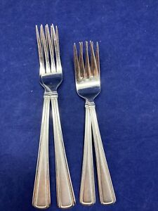 4 Reed & Barton Newhall Matte Dinner Salad Fork Stainless Lot