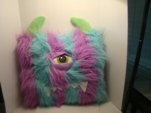Fuzzy Purple & Blue with Green Horns Cyclops Thin Pillow 13 x 13