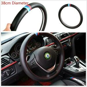 38cm/15'' Car Carbon Fiber Look PU Leather Steering Wheel Cover For BMW E36 E39