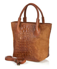 NWT Massimo Castelli Italy Leather and Suede Croc Embossed Zippered Tote Handbag