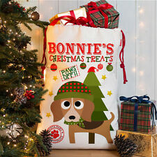 Personalised Dog Christmas Sack Beagle Treat Stocking Xmas Present CDS06