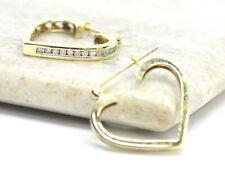 10K YG Gold Diamond Heart Hoop Earrings 1/5 Carat Polished Love Channel Set
