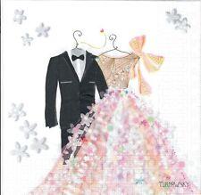 4 Single paper decoupage napkins. Wedding, bride & groom, love, big day  -399