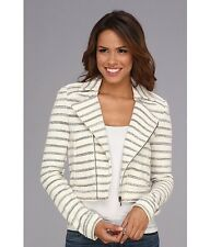 New BCBG MAX AZRIA Womens M Medium White Striped Full Zip Motorcycle Jacket NWT
