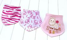 Bandana Dribble Bibs Girls 3 pcs Baby/Toddler triangle Pink Zebra