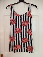 Motel Stripped Floral Red Black & White Dress - Size XS