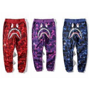 Hot Bape A Bathing Ape Shark Head Trousers Mens Sports Casual Cotton Sweat Pants