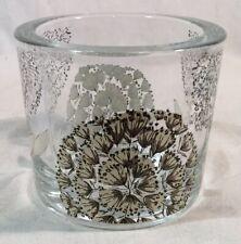 Lovely Heavy Glass Pot With Dandelion Design (Candle/Tea Light Holder?)