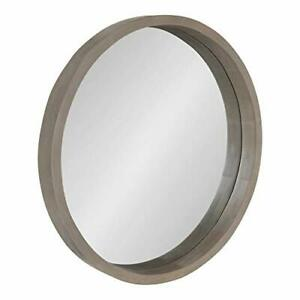Kate and Laurel Hutton Round Decorative Modern Wood Frame Wall Mirror 22 Inch...