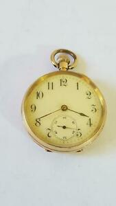 Longines Lever 1900s 18ct Gold Open Face Lady's Pocket Watch Crown Wind Mvt 34g