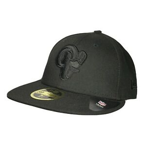 LA Rams Los Angeles 59FIFTY New Era Men Size 7 1/4 Fitted NFL Official Hat Black