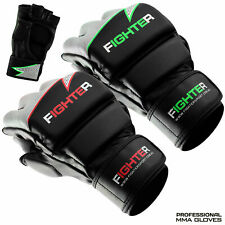 Leather Boxing MMA Gloves Grappling Punch Bag Fighting Training Black