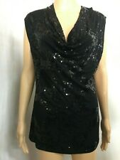 WITCHERY SIZE S BLACK SEQUINNED COWL NECK TOP,EVENING,SPECIAL EVENT