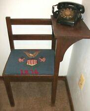MID CENTURY WALNUT GOSSIP BENCH NEEDLEPOINT SEAT AMERICANA +ROTARY telephone